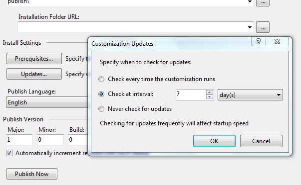ClickOnce Deployment Update Options